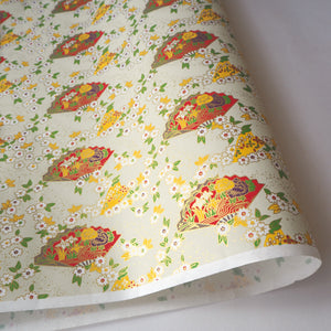 Yuzen Washi Wrapping Paper HZ-388 - Cherry Blossom & Floral Fans Pale Green - washi paper - Lavender Home London