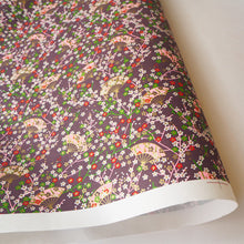 Yuzen Washi Wrapping Paper HZ-405 - Small Plum Flowers & Fans Purple - washi paper - Lavender Home London