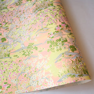Yuzen Washi Wrapping Paper HZ-420 - Spring Cherry Blossom & Bamboo - washi paper - Lavender Home London