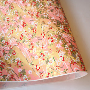 Yuzen Washi Wrapping Paper HZ-436 - Cherry Blossom & Butterflies - washi paper - Lavender Home London