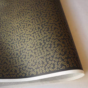 Yuzen Washi Wrapping Paper HZ-445 - Small Chrysanthemum Black - washi paper - Lavender Home London