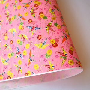 Yuzen Washi Wrapping Paper HZ-463 - Origami Cranes Pink (S) - washi paper - Lavender Home London