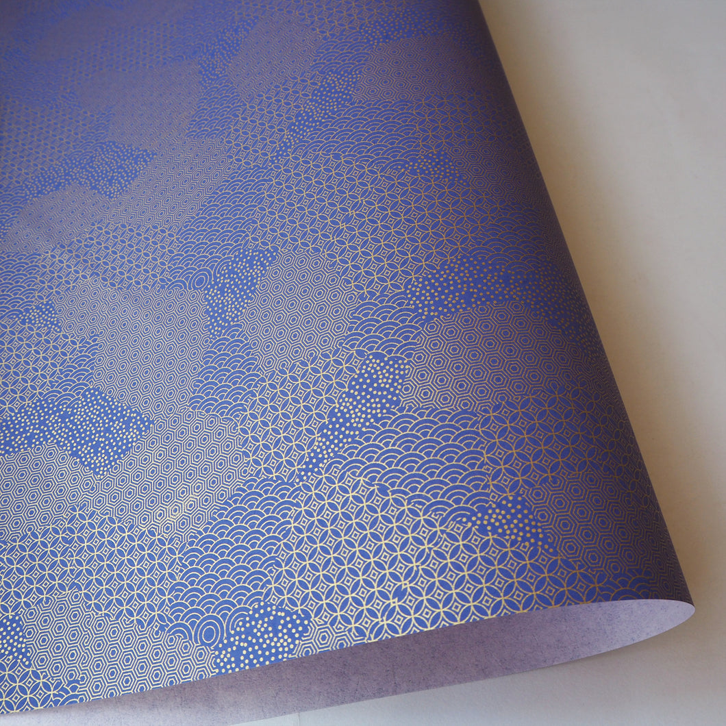 Yuzen Washi Wrapping Paper HZ-495 - Blue Gold Mixed Geometric Patterns - washi paper - Lavender Home London