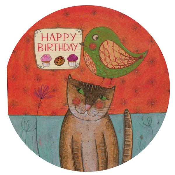 Birthday Card - Happy Birthday Cat and Bird