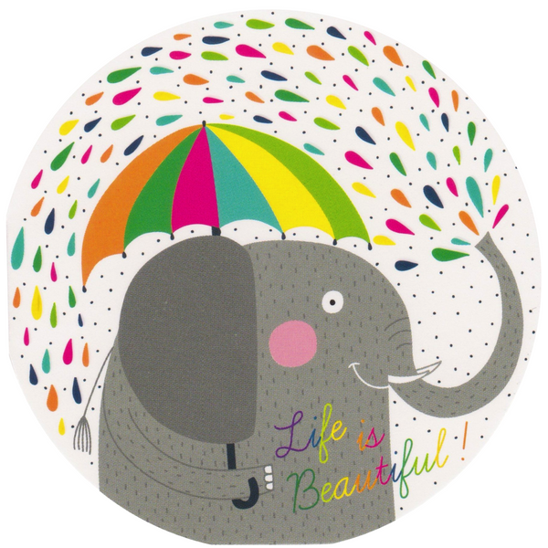 Mini Greeting Card - Life is Beautiful Rain Elephant - Cards - Lavender Home London