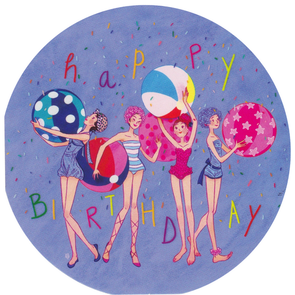 Mini Birthday Card - Happy Birthday Beach Ladies - Cards - Lavender Home London