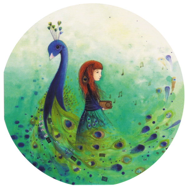 Mini Greeting Card - The Peacock & The Girl