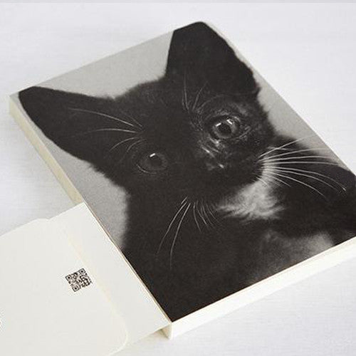 Scar & Black Bean Cats Blank Notebook - Black Bean 01 - Stationery - Lavender Home London