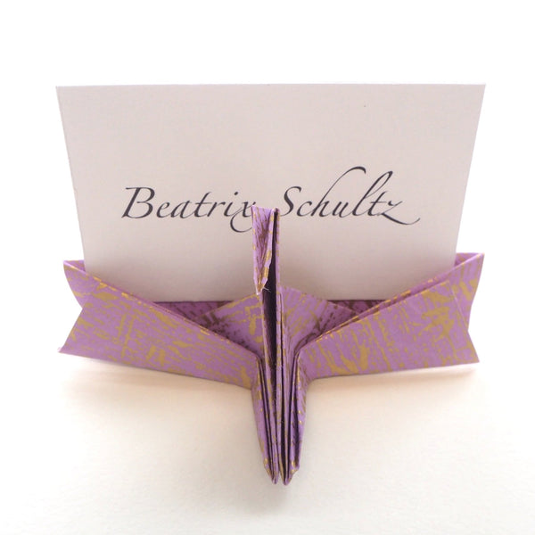 Bespoke Yuzen Washi Paper Origami Crane Name Card Holder - Origami Decorations - Lavender Home London