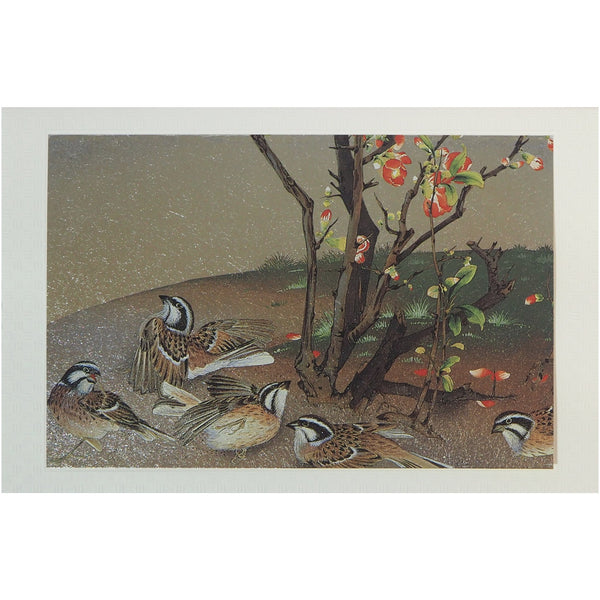 Japanese Art Greeting Card - Dancing White Crowned Sparrows - Cards - Lavender Home London