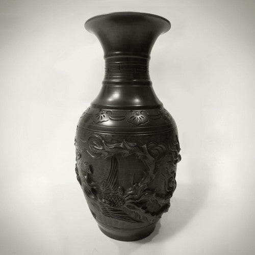 Traditional Chinese Handcrafted Black Clay - Large Dragon Vase - Homeware - Lavender Home London
