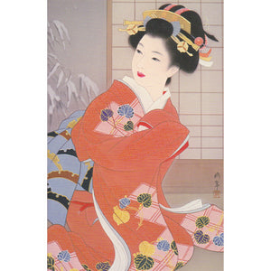 Japanese Beauty Geisha Card - Red Kimono - Cards - Lavender Home London