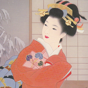 Japanese Beauty Greeting Card - Red Kimono Geisha