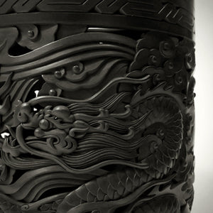 Traditional Chinese Handcraft Black Clay - Scroll Painting Bucket (Large) Pattern: Dragons