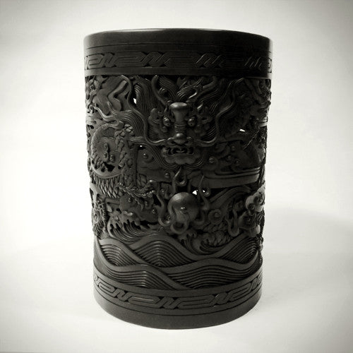 Traditional Chinese Handcrafted Black Clay - Scroll Painting Dragons Bucket - Homeware - Lavender Home London
