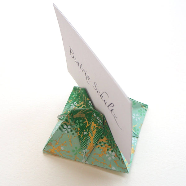 Bespoke Yuzen Washi Paper Simple Origami Name Card Holder - Origami Decorations - Lavender Home London