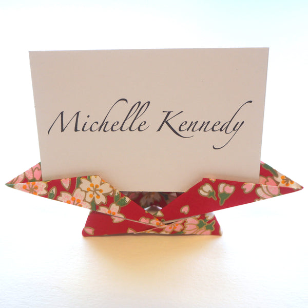 Bespoke Yuzen Washi Paper Traditional Origami Name Card Holder - Origami Decorations - Lavender Home London