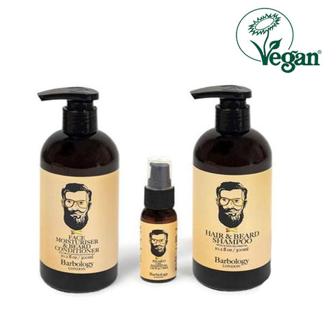 Barbology London Hair & Beard Shampoo, Conditioner & Oil 3Pcs Set