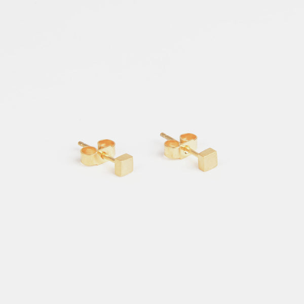 Béton Cube Earrings Gold