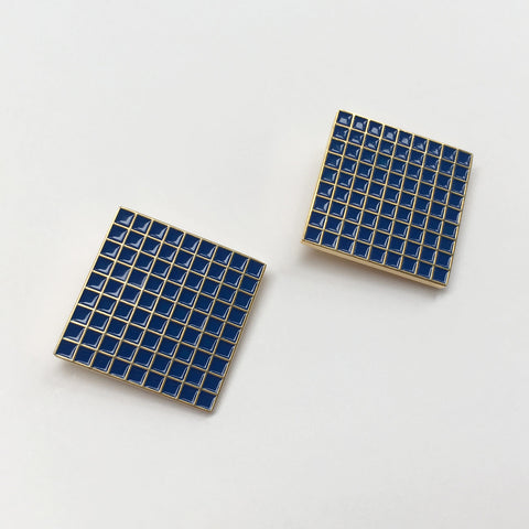 Barbican Blue Grid Earrings