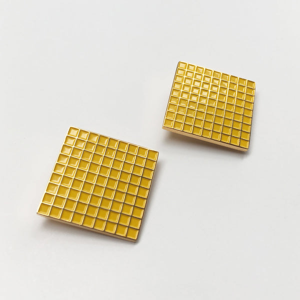 Barbican Yellow Grid Earrings Sample