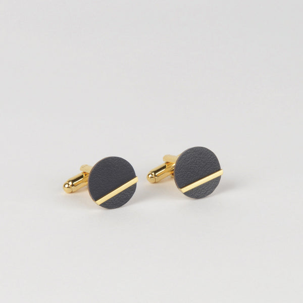 Form Circle Cufflinks Brass & Midnight