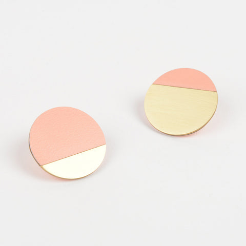 Form Segment Earrings Brass & Blush