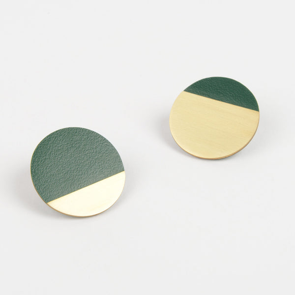 Form Segment Earrings Brass & Forest