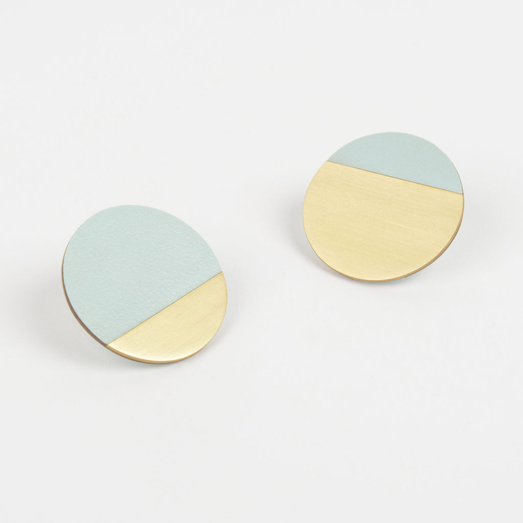 Form Segment Earrings Brass & Ice