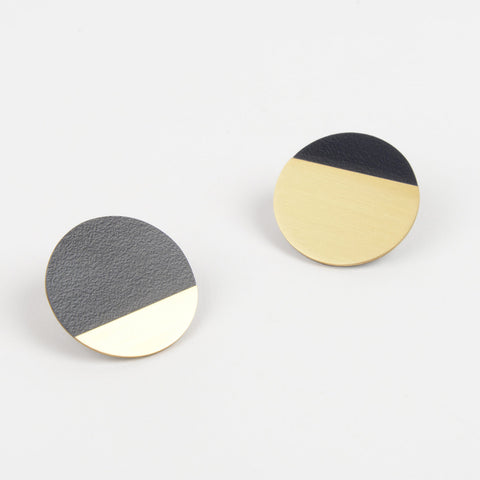 Form Segment Earrings Brass & Midnight
