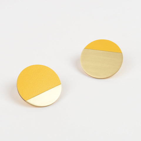 Form Segment Earrings Brass & Yellow