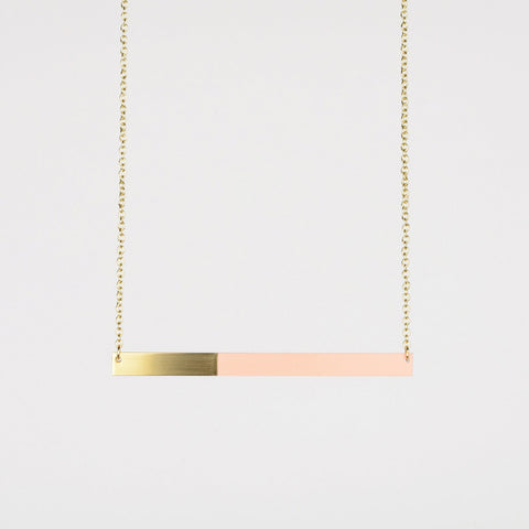 Form Bar Necklace Brass & Blush