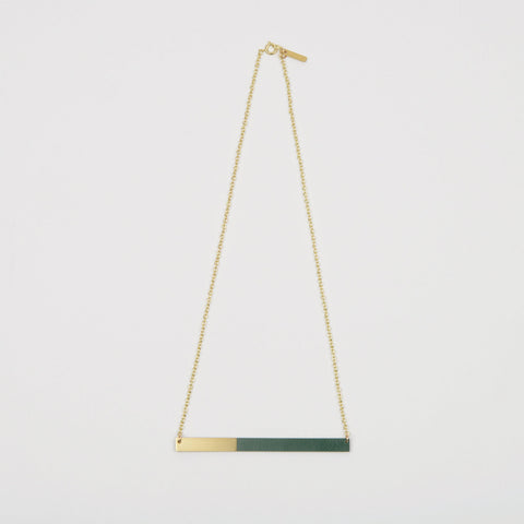 Form Bar Necklace Brass & Forest