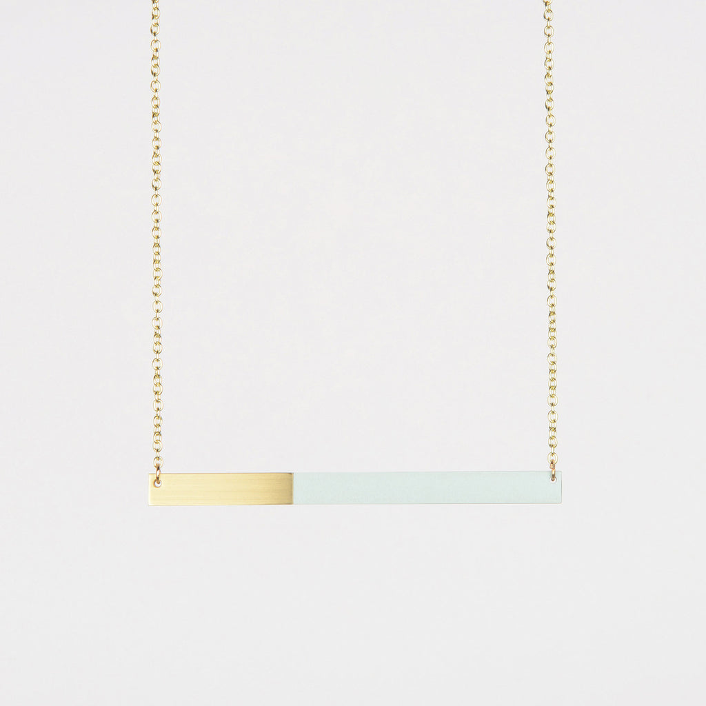 Form Bar Necklace Brass & Ice