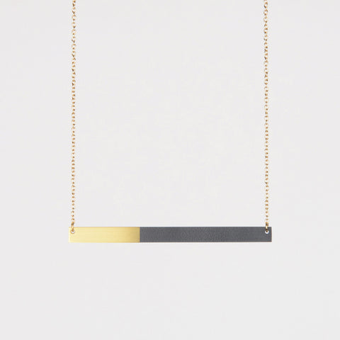 Form Bar Necklace Brass & Midnight