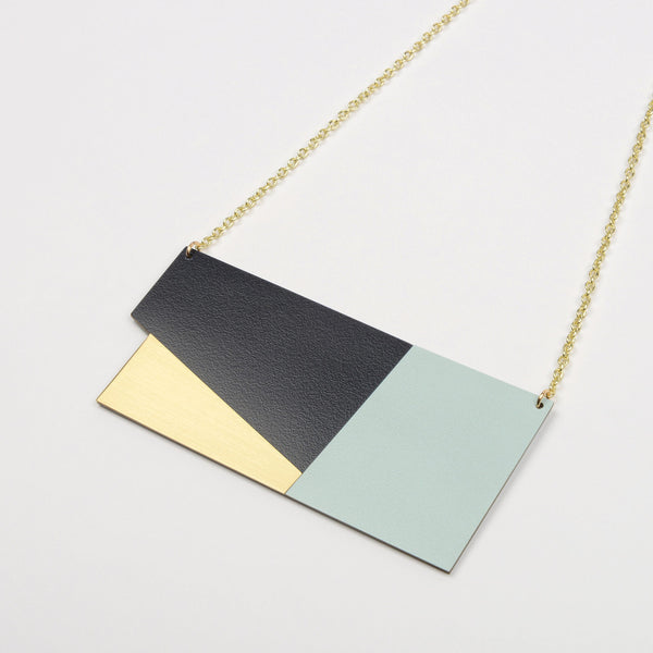 Form Panel Necklace Brass & Ice