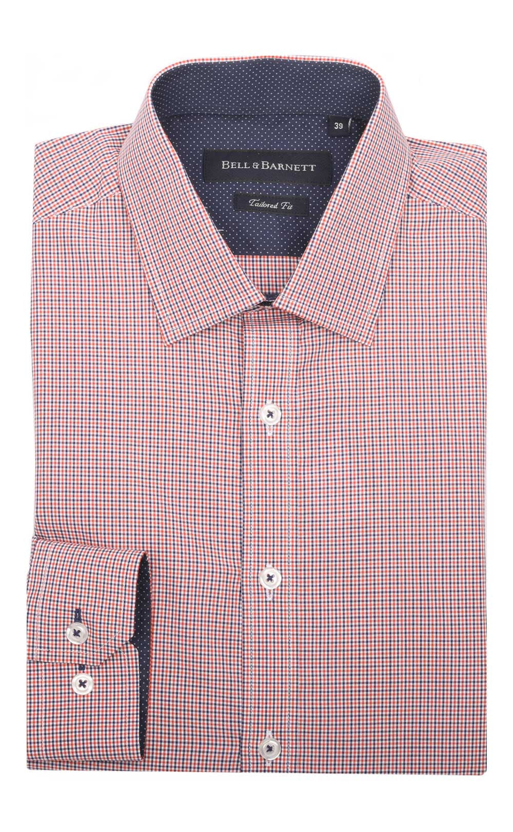 Parker Orange/Navy Small Check Cotton Shirt