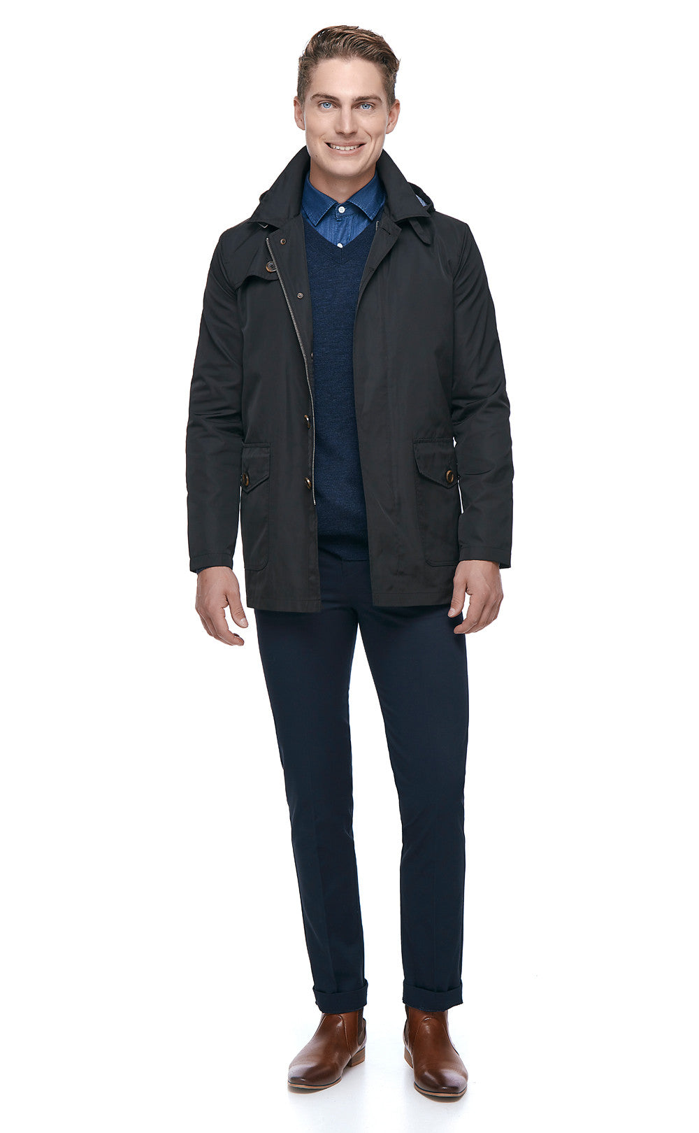 Stephan Hooded Black Jacket