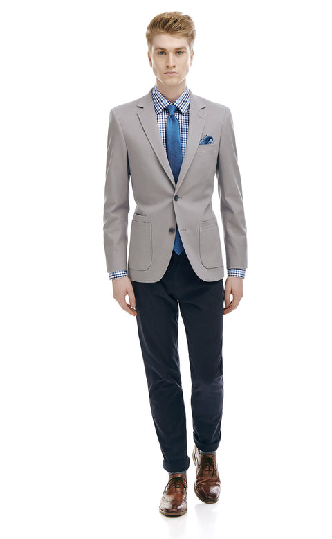 Morris Grey Cotton Blazer