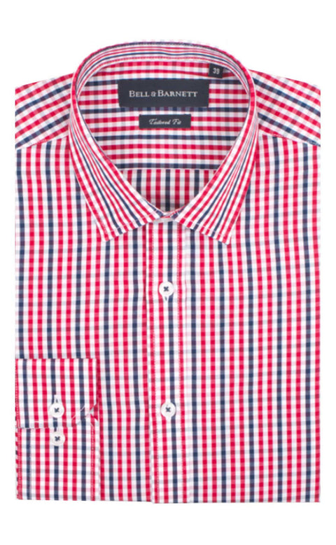 Adam Red/Navy Check Cotton Shirt