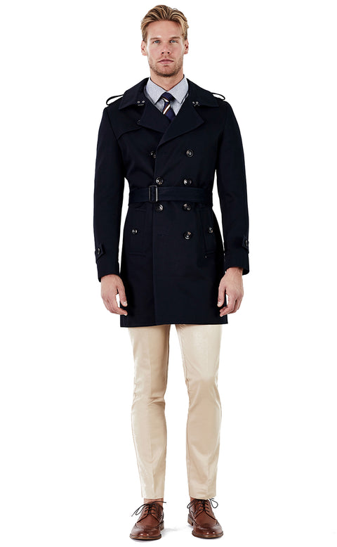 Ethan Navy Double Breasted Trench Coat