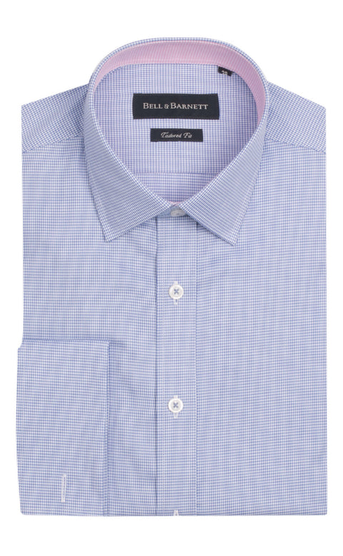 Jace Blue Houndstooth French Cuff Cotton Shirt