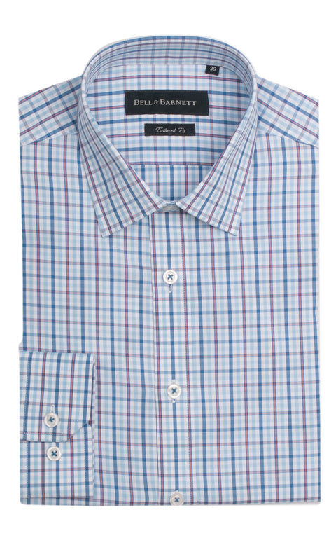 Daniel Blue and Orange Check Cotton Shirt
