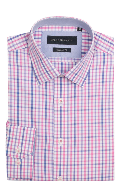 Brody Pink Check Cotton Shirt