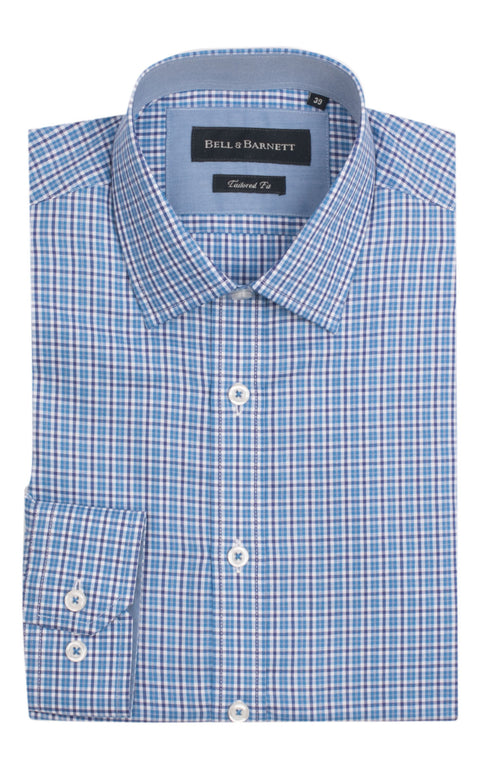 Alex Blue Check Cotton Shirt