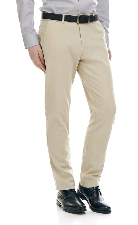 Derek Beige Cotton Chino - front zoomed.