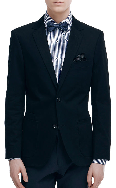 Morris Black Cotton Blazer - front zoomed.