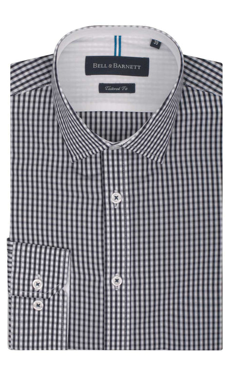 Noah Navy Check Business Shirt - front.