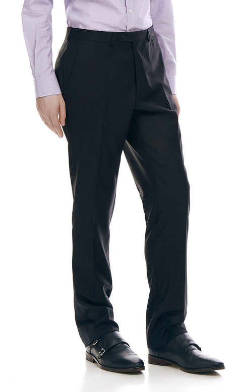 Devonte Black Classic Wool Suit Trousers - front zoomed.