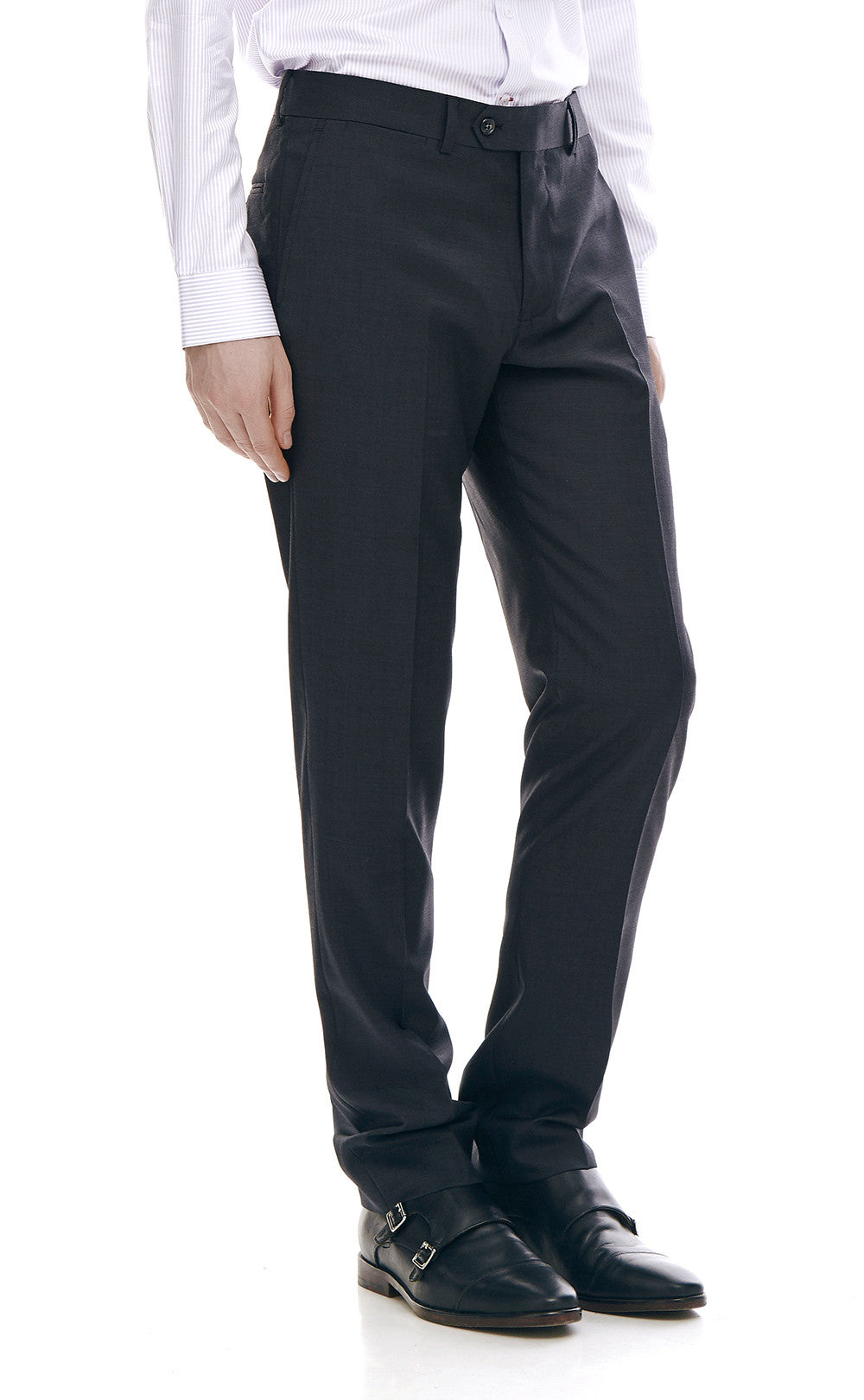 Maurice Black Slim Fit Wool Suit Trousers - front zoomed.